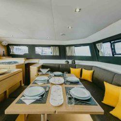 diningarea-Dufour 48 catamaran yellow